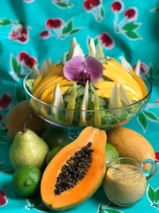 This artfully arranged tropical salad is as pretty as it is delicious.