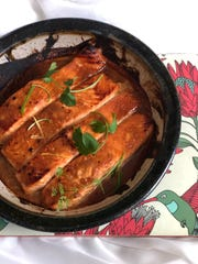 The miso-marinated salmon is cooked under the broiler.