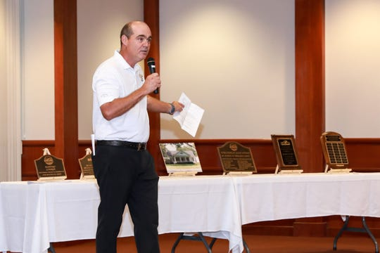 ULM golf coach Tim Baldwin showed supporters a sneak peak of the new golf facility at the ULM Golf team partner's appreciation dinner on Wednesday night at the university library.