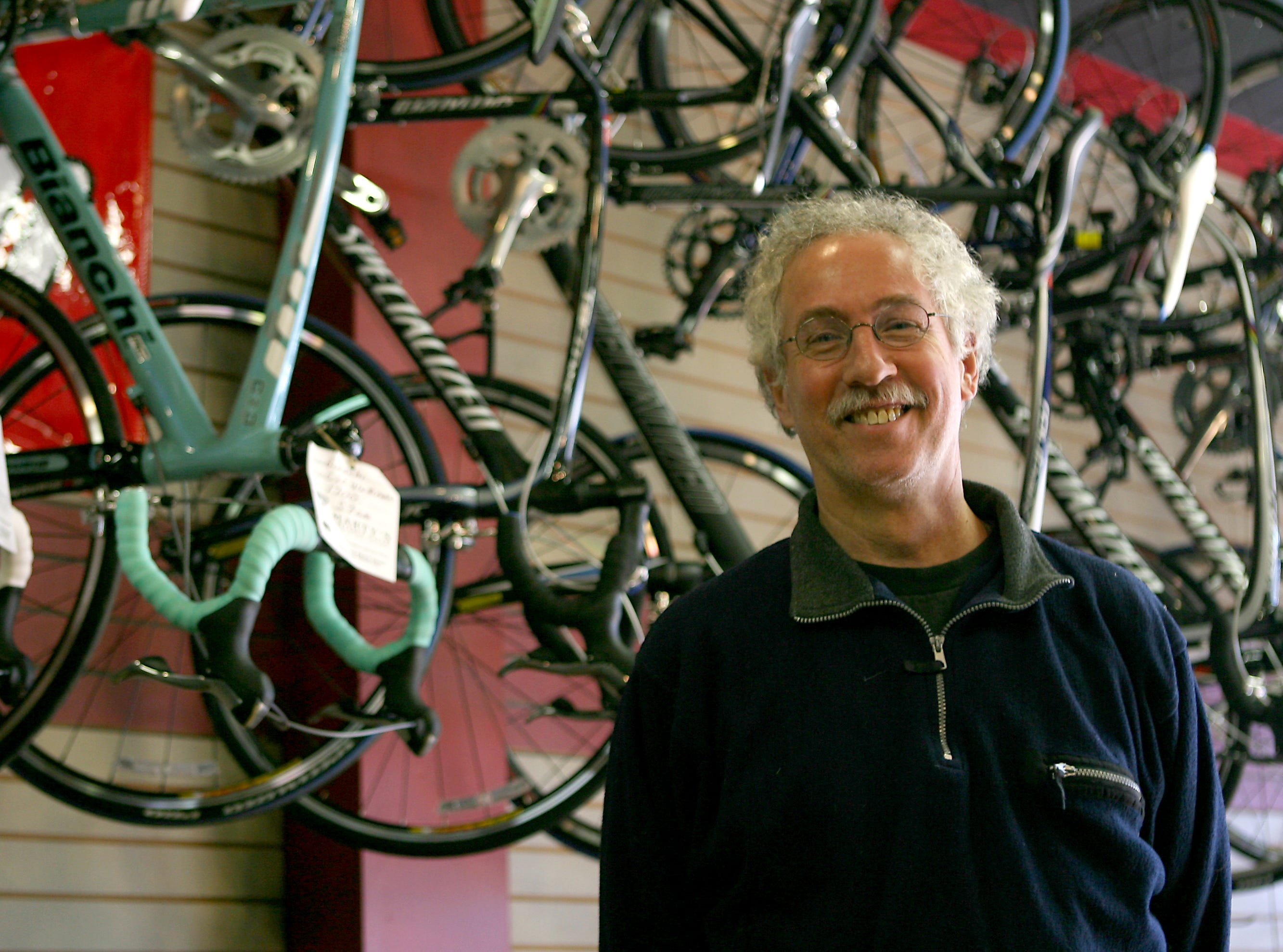 Morristown -- Feb 24, 2009 -- Marty Epstein, the owner of Marty's Reliable Cycle, poses for a portrait inside of his store.