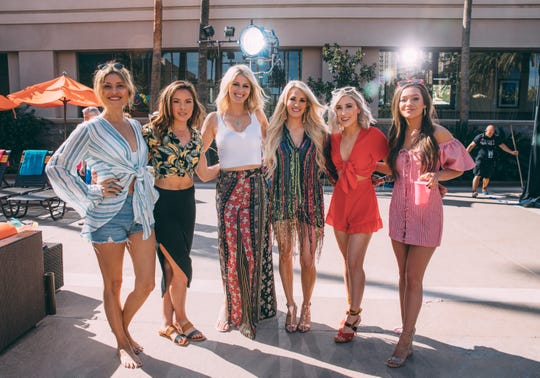 Carrie Underwood launched her all-female Cry Pretty 360 Tour in May with opening acts Runaway June and Maddie & Tae.  From left: Hannah Mulholland, Naomi Cooke and Jennifer Wayne of Runaway June, Carrie Underwood, and Maddie Marlow and Tae Dye of Maddie & Tae.