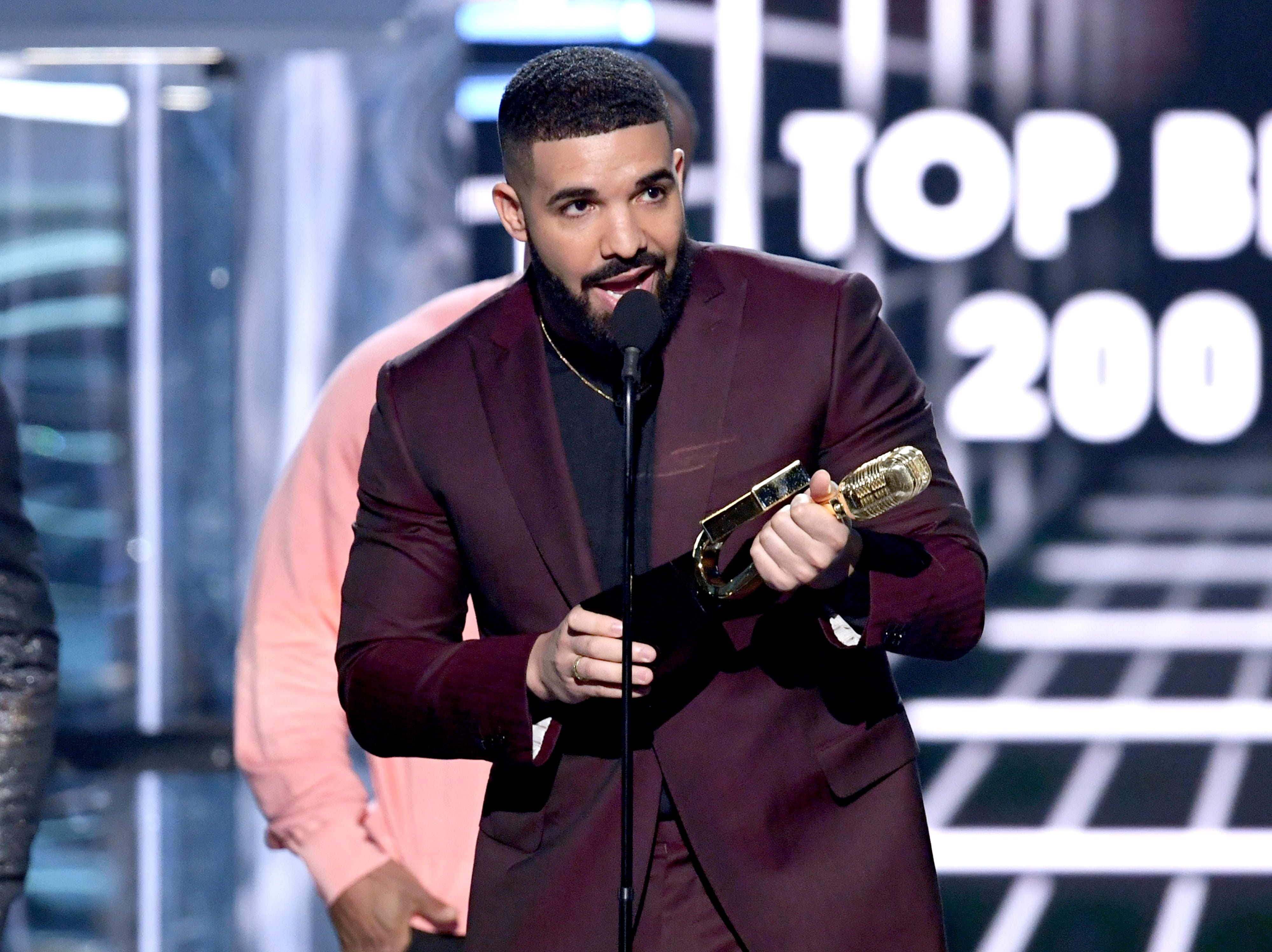 Drake accepts the Top Billboard 200 Album award for 'Scorpion' onstage during the 2019 Billboard Music Awards at MGM Grand Garden Arena on May 01, 2019 in Las Vegas, Nevada.