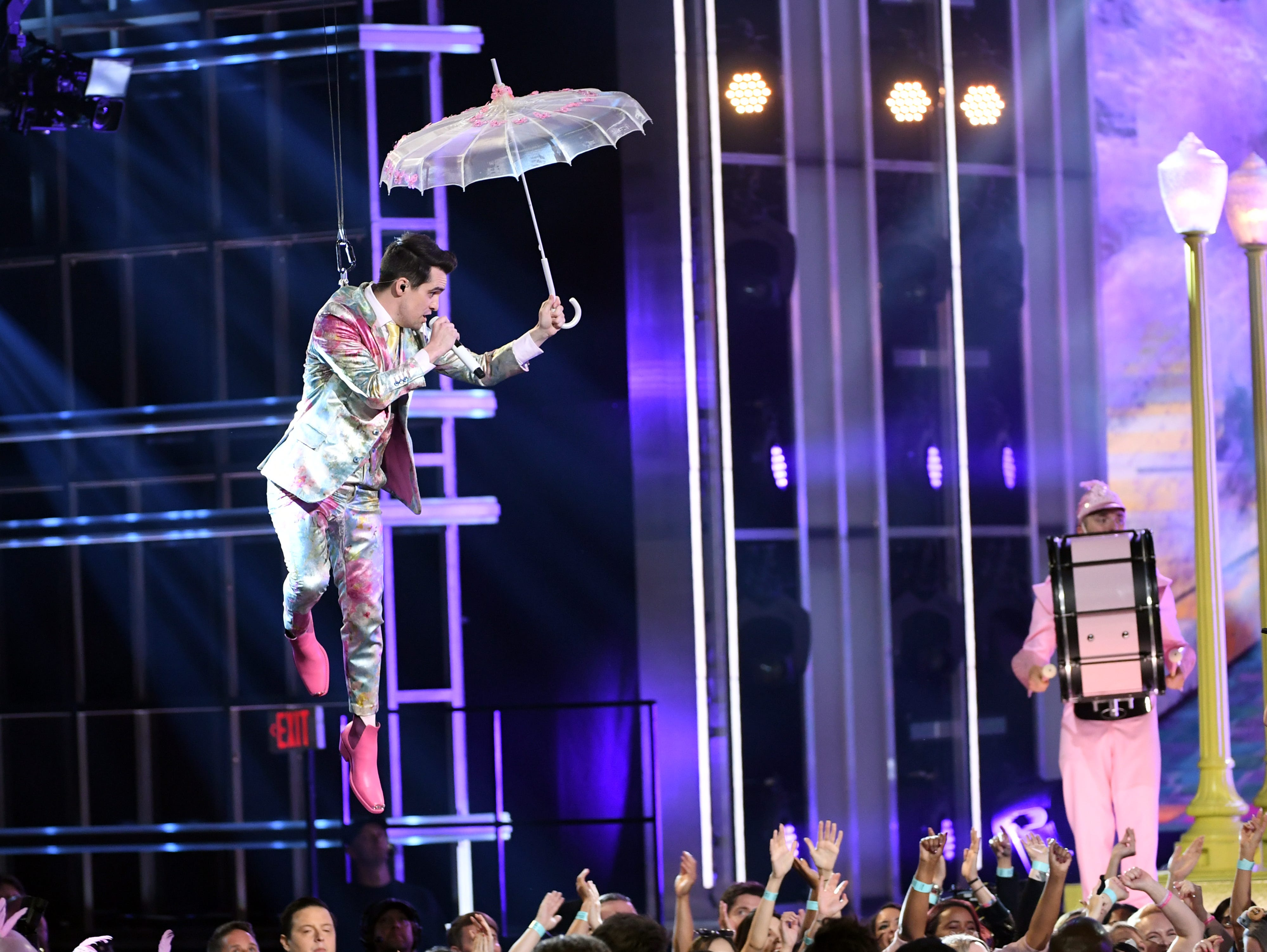 Brendon Urie of Panic! at the Disco performs onstage during the 2019 Billboard Music Awards at MGM Grand Garden Arena on May 01, 2019 in Las Vegas, Nevada.