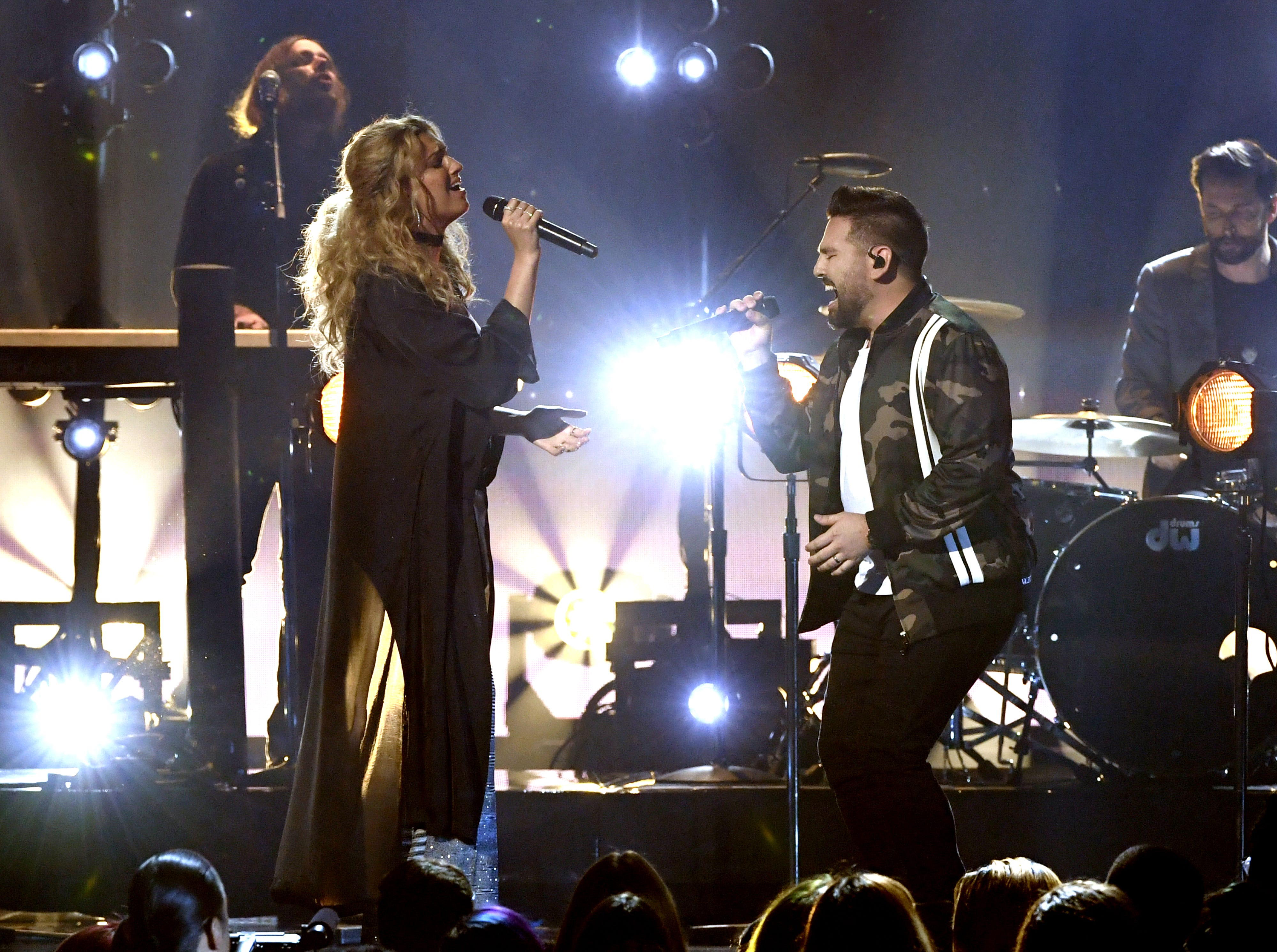 (L-R) Tori Kelly and Shay Mooney of Dan + Shay perform onstage during the 2019 Billboard Music Awards at MGM Grand Garden Arena on May 01, 2019 in Las Vegas, Nevada.