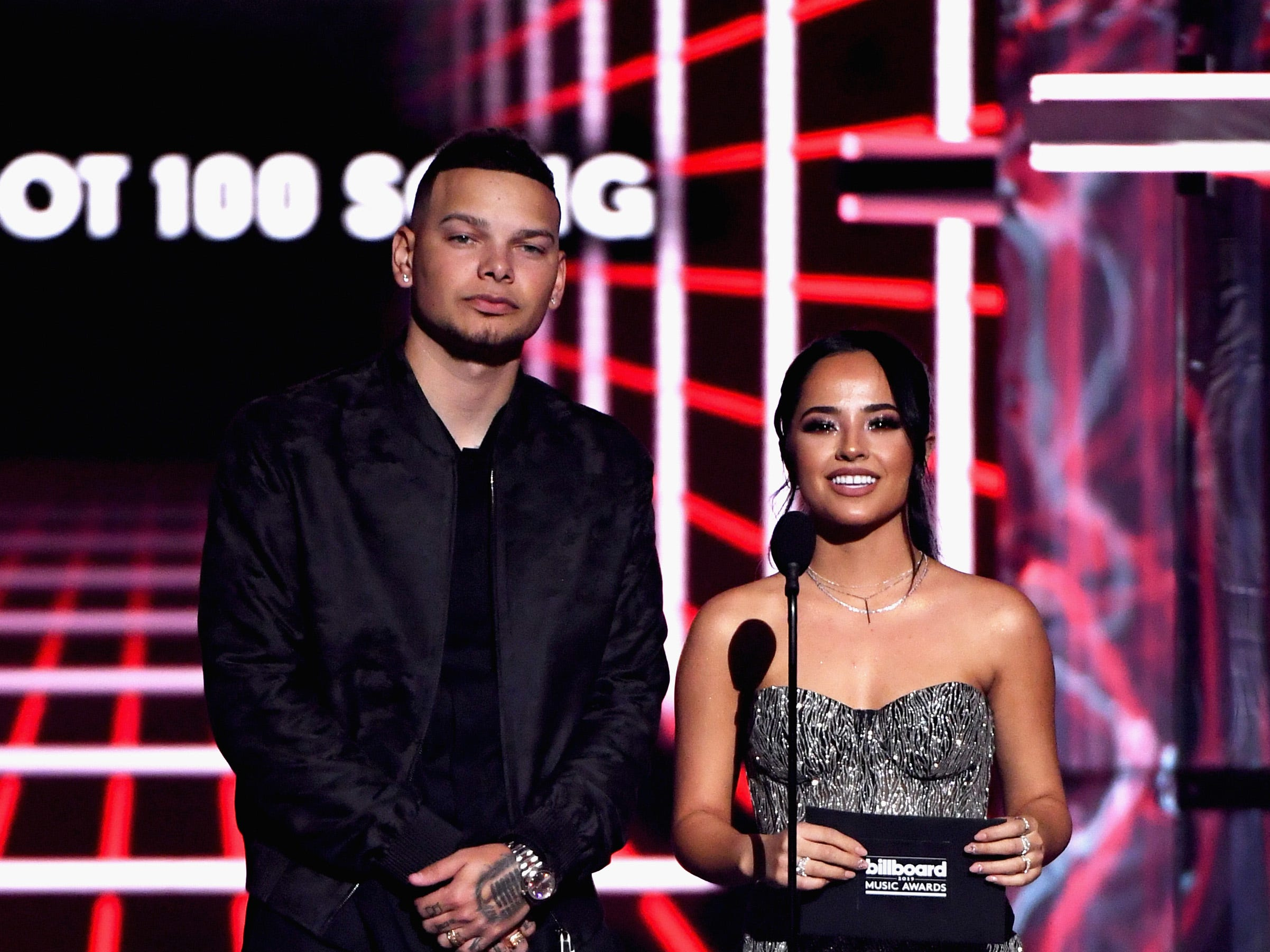 (L-R) Kane Brown and Becky G speak onstage during the 2019 Billboard Music Awards at MGM Grand Garden Arena on May 1, 2019 in Las Vegas, Nevada.