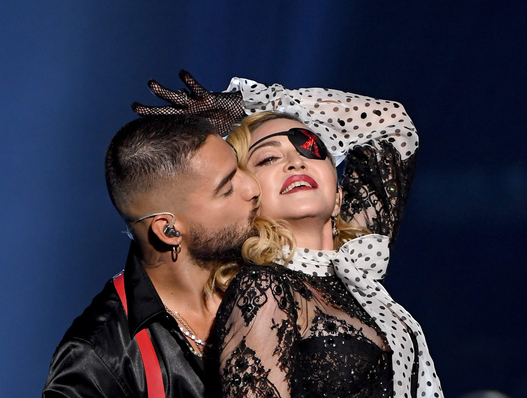 (L-R) Maluma and Madonna perform onstage during the 2019 Billboard Music Awards at MGM Grand Garden Arena on May 1, 2019 in Las Vegas, Nevada.