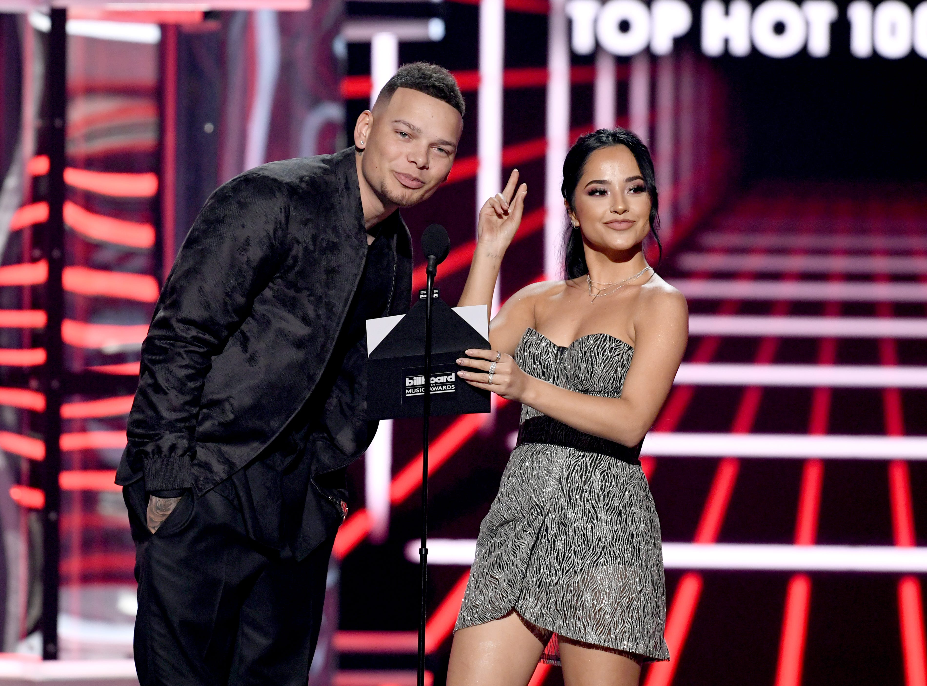 (L-R) Kane Brown and Becky G speak onstage during the 2019 Billboard Music Awards at MGM Grand Garden Arena on May 01, 2019 in Las Vegas, Nevada.