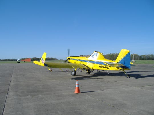 Aircraft like this one will be over the skies of Granville again in June, treating for gypsy moths found in the area.