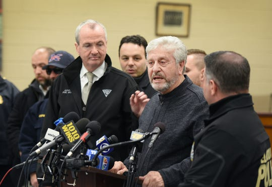 Elmwood Park Mayor Frank Caramagna speaks regarding the Marcal Paper fire during a press conference at the Elmwood Park Municipal Building in Jan. 31, 2019, with Gov. Phil Murphy at his side.