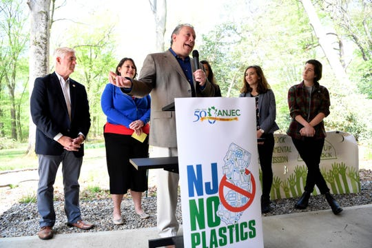 Glen Rock Mayor Bruce Packer speaks during a press conference hosted by the Association of New Jersey Environmental Commissions (ANJEC) announcing the passing of a bill that bans single-use plastic bags on Thursday, May 2, 2019, in Glen Rock.