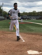 DePaul's Stephen Orlando scores on an inside-the-park home run in the Spartans' five-inning, 11-1 win over Eastern Christian in the Passaic County baseball tournament first round on Saturday, April 27, 2019.