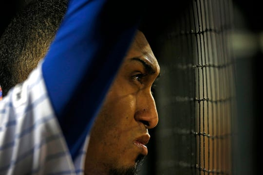 May 1, 2019; New York City, NY, USA; New York Mets relief pitcher Edwin Diaz (39) looks on from the dugout after a giving up a home run in the ninth inning against the Cincinnati Reds at Citi Field.