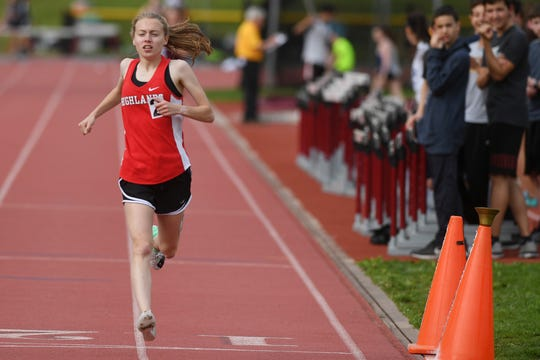Big North Freedom and United Track Meet at Benjamin Franklin Middle School in Ridgewood on Thursday, May 2, 2019. Daisy Liljegren, of Northern Highlands, in the 1600M.