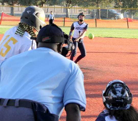 Freshmen Lady 'Cat pitcher Bianca Valverde held the Alamogordo Tigers in check behind a rock-solid Deming defense.