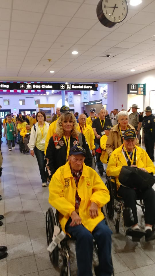 Las Cruces motorcycle clubs and local law enforcement escorted Honor Flight 12 veterans from WWII, Korea and Vietnam wars, to the El Paso International Airport for their trip to Washington D.C. Thursday, May 2.
