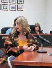 Otero County resident Madeline Lee speaks directly to the previous commenters who were against the immigrant housing resolution at Thursday's special Otero County Commission meeting.