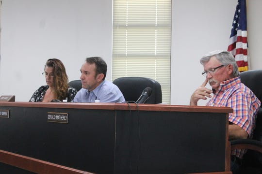 The Otero County Commission from left: Commissioner Lori Bies, Commission Chairman Couy Griffin and Commissioner Gerald Matherly approved a resolution Thursday that opposes immigrants being housed in Otero County. The approved two-to-one with Bies abstaining.