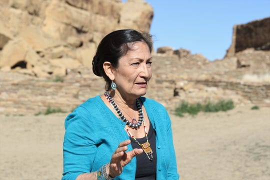 U.S. Rep. Deb Haaland, D-NM, speaks, Sunday, April 14, 2019, while visiting Chaco Culture National Historical Park.