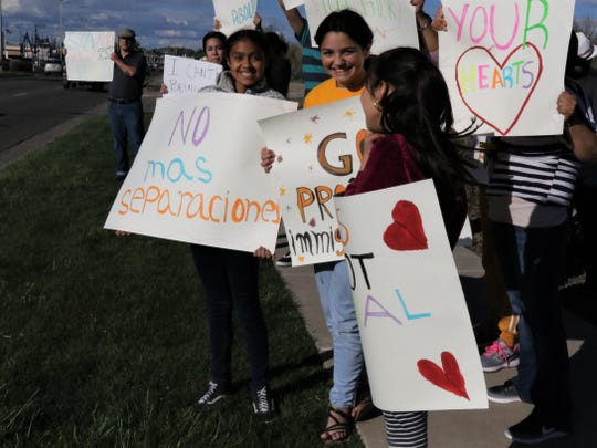Immigrant rights group Somos Un Pueblo Unido hosted an International Workers Day rally Wednesday at Farmington Museum at Gateway Park.