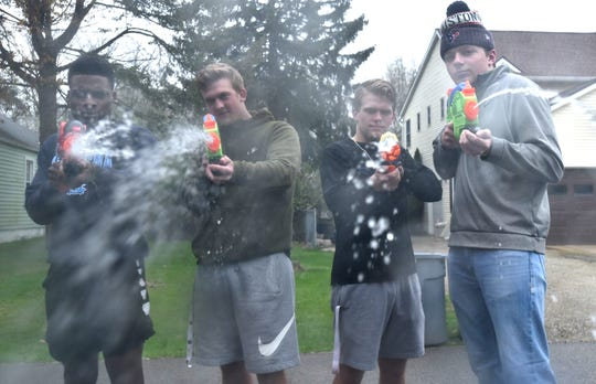 This might be the last thing you see before you succumb to the Water Wars warriors of team Wetty Wap. From left are Steven Walker, Seth Troszak, Ben Wright, and Noah Van Berkel.