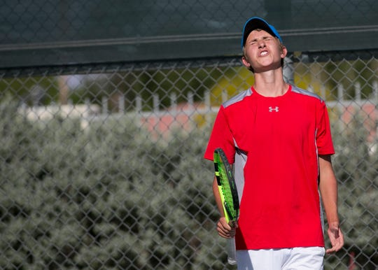 Palm Desert Sophomore Teo Linner reacts during a doubles match against Irvine High School during the CIF playoffs at Palm Desert High School on Wed. May. 1, 2019.