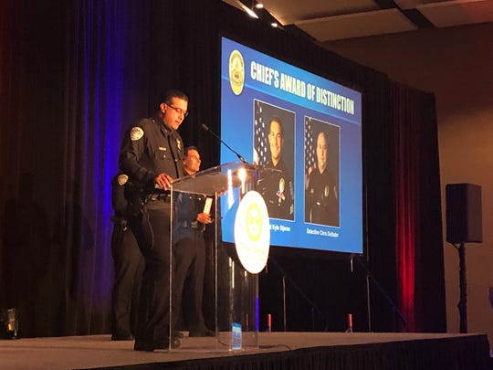 Palm Springs Police Chief Bryan Reyes presents awards at the Police and Fire Appreciation Luncheon on May 2, 2019.