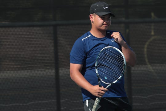 Alejandro Miramantes reacts after a point in  his second doubles match against Aliso Niguel, Indio, Calif., May 1, 2019.
