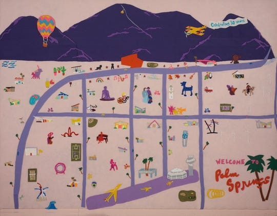 """A Felt Eye View of Palm Springs"" art created by Sarah Scheideman"