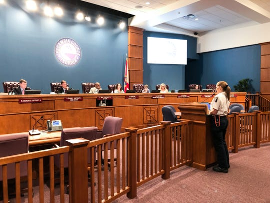Dr. Rayme Edler speaks to the Escambia County Commission on Thursday, May 2, 2019.