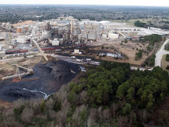 An aerial view of International Paper taken after the 2017 explosion.