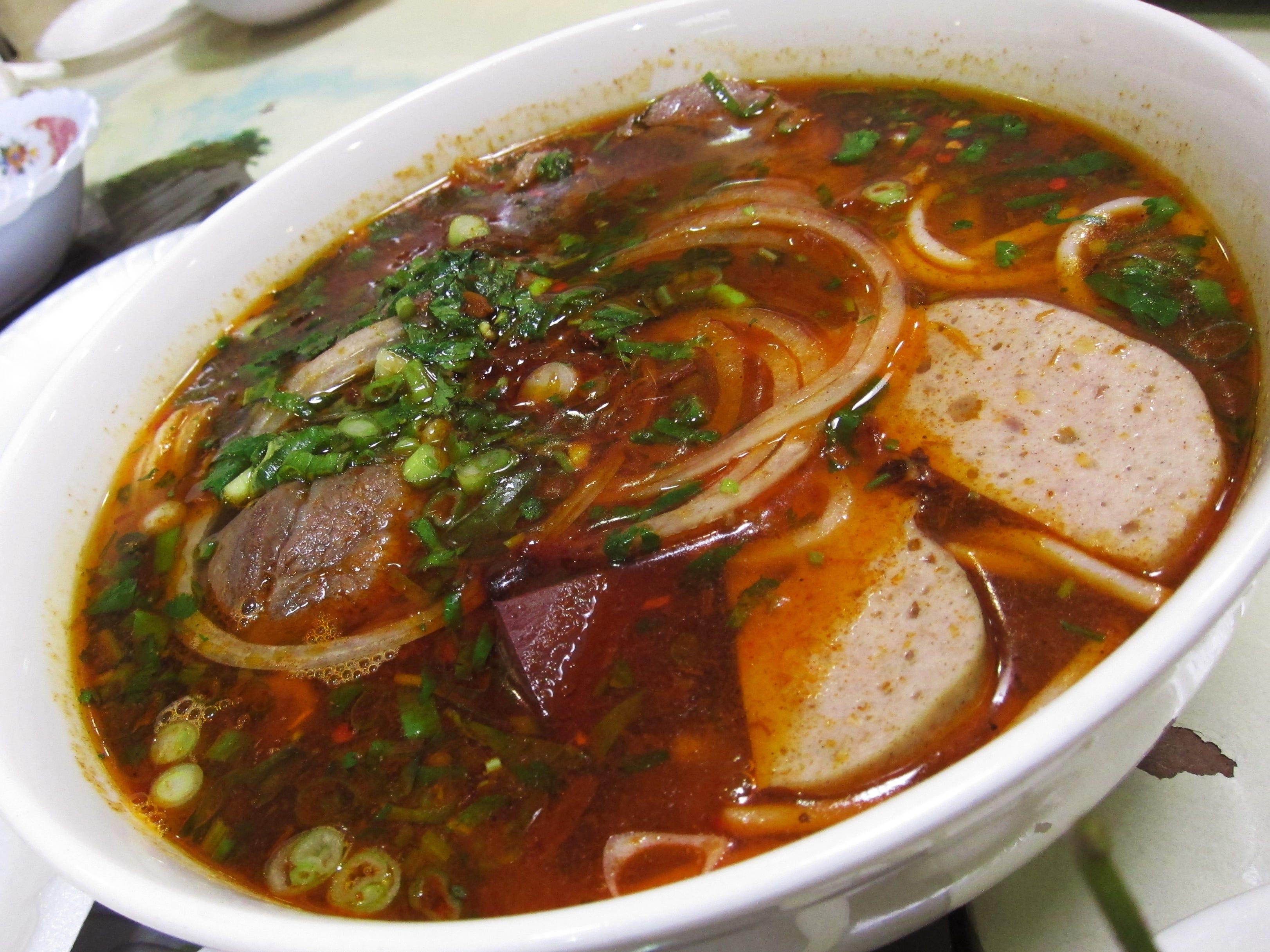 Bun bo hue (spicy beef noodle soup) at Hue Gourmet in Mesa, AZ.