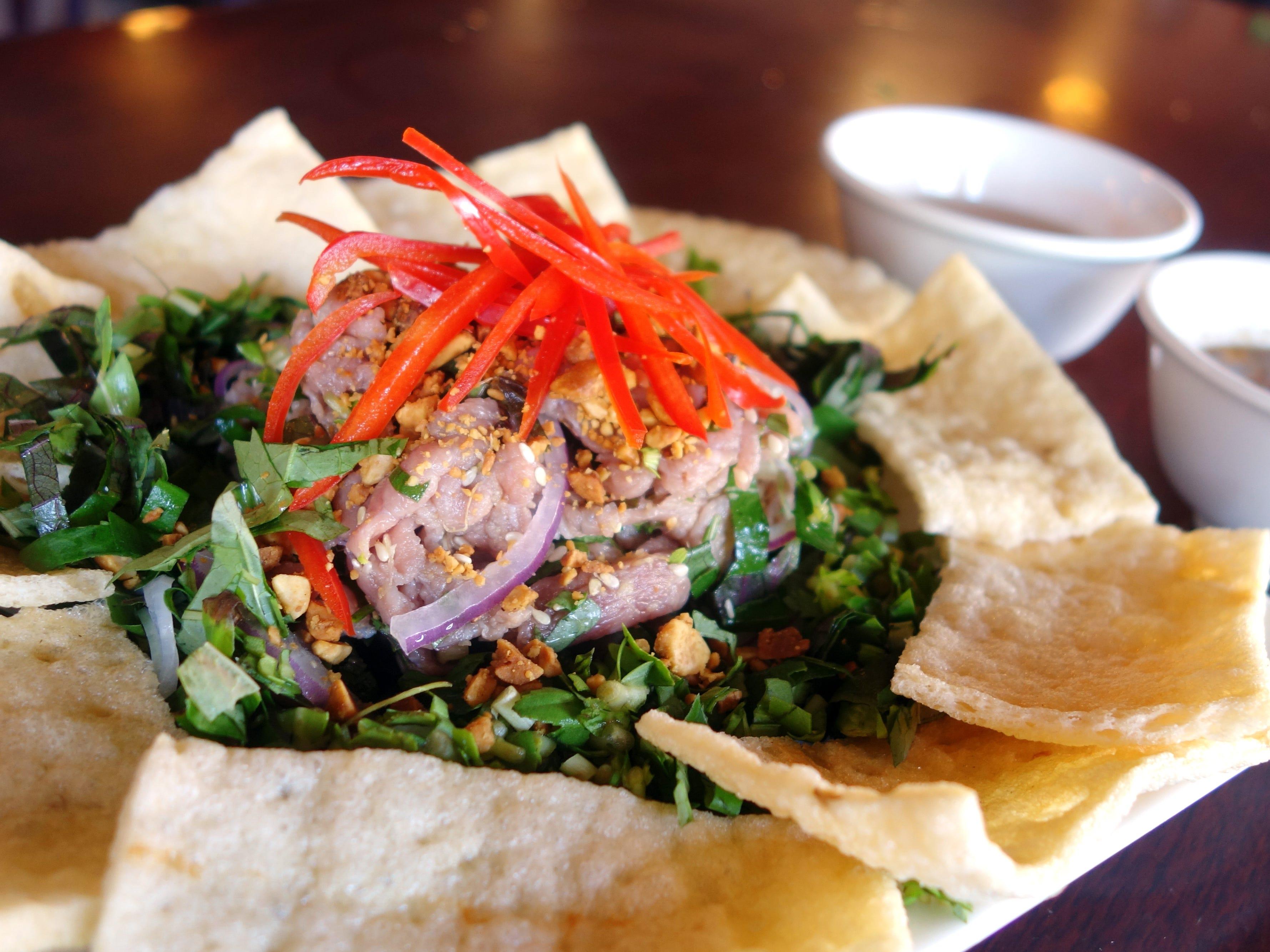 Bo tai chanh (rare beef salad) at Pho Avina in Glendale, AZ.
