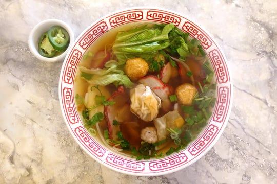 Hu tieu mi dac biet Khai Hoan (house special glass and egg noodle soup) at Khai Hoan in Tempe, AZ.