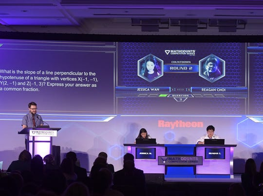 Mathletes compete in the countdown round at the 2018 Raytheon Mathcount event in Washington, D.C.