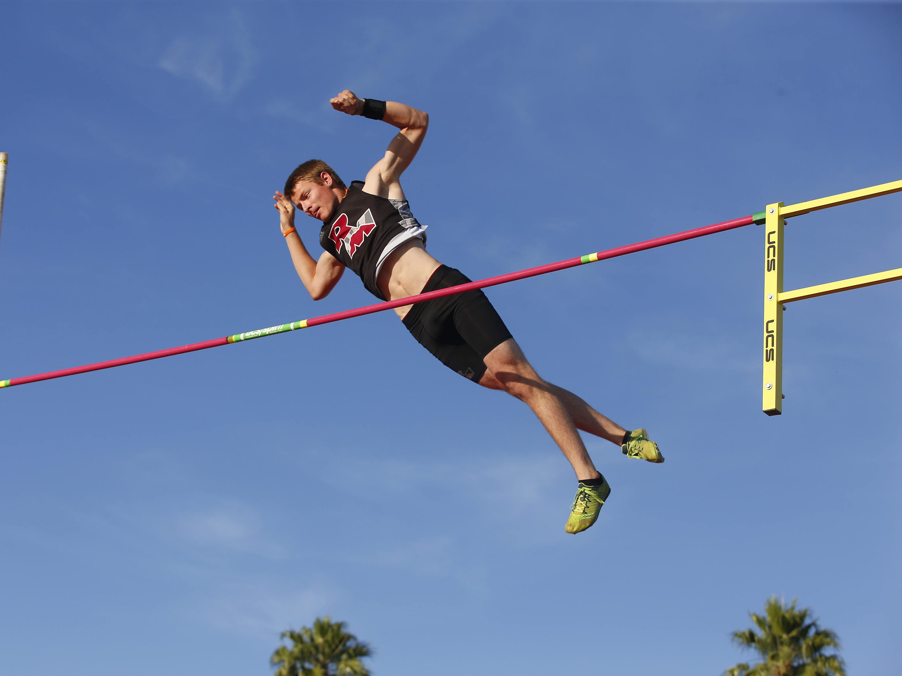 Red Mountain's Dominick Singer competes in Boys Pole Vault Div. I during the state track and field meet at Mesa Community college on May 1, 2019.