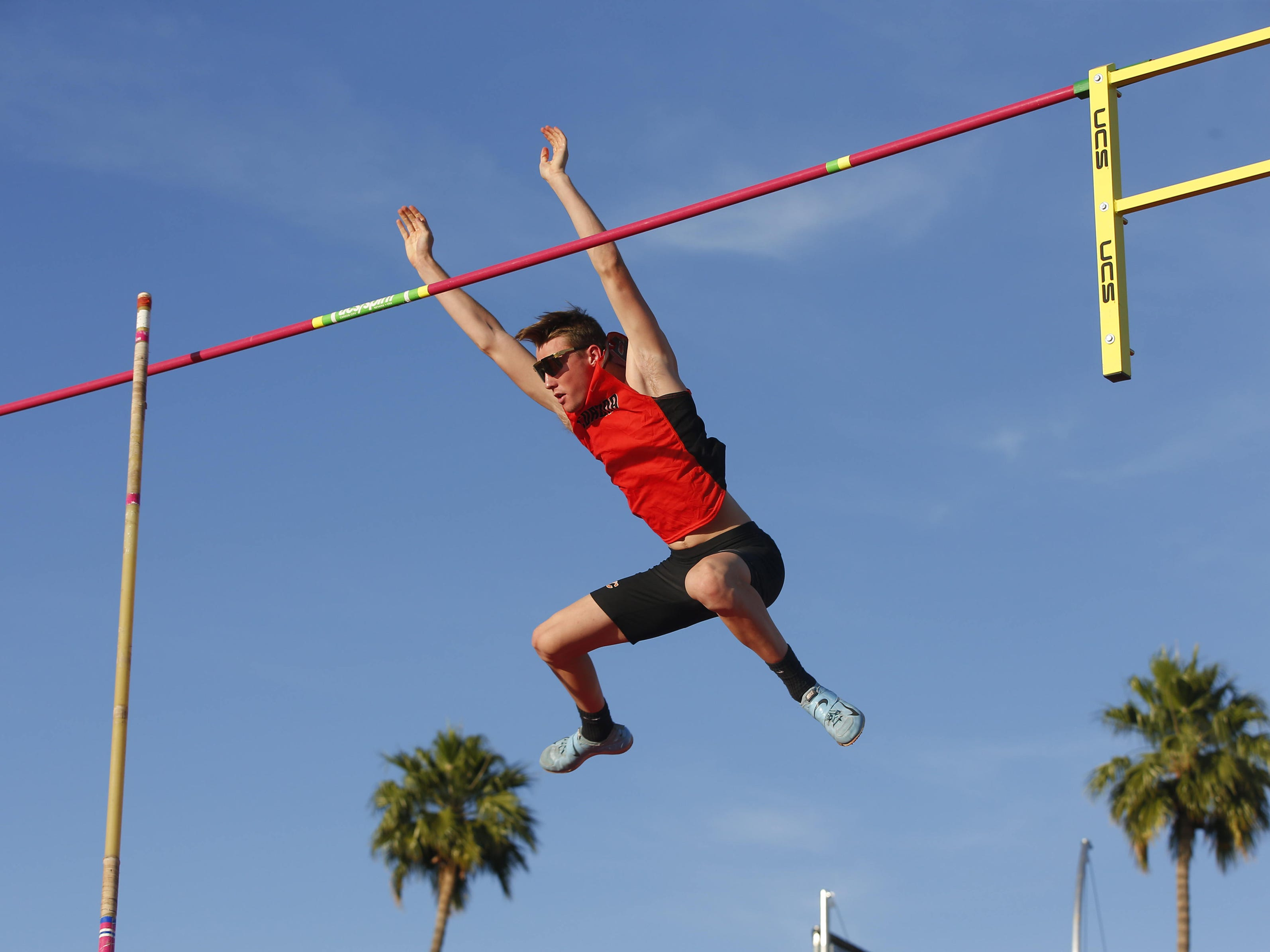 Corona del Sol's Wyatt Hackenyos competes in Boys Pole Vault Div. I during the state track and field meet at Mesa Community college on May 1, 2019.