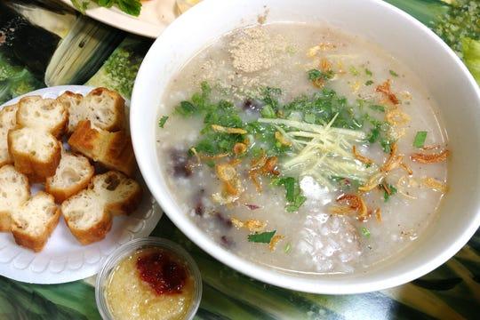 Chao long (rice porridge with pork offal) at Hue Gourmet in Mesa, AZ.