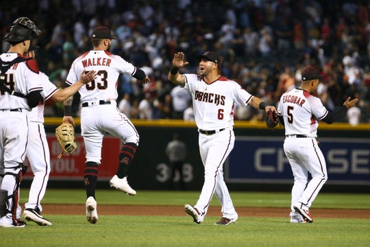 The Diamondbacks celebrate their two-game sweep of the Yankees on Wednesday.