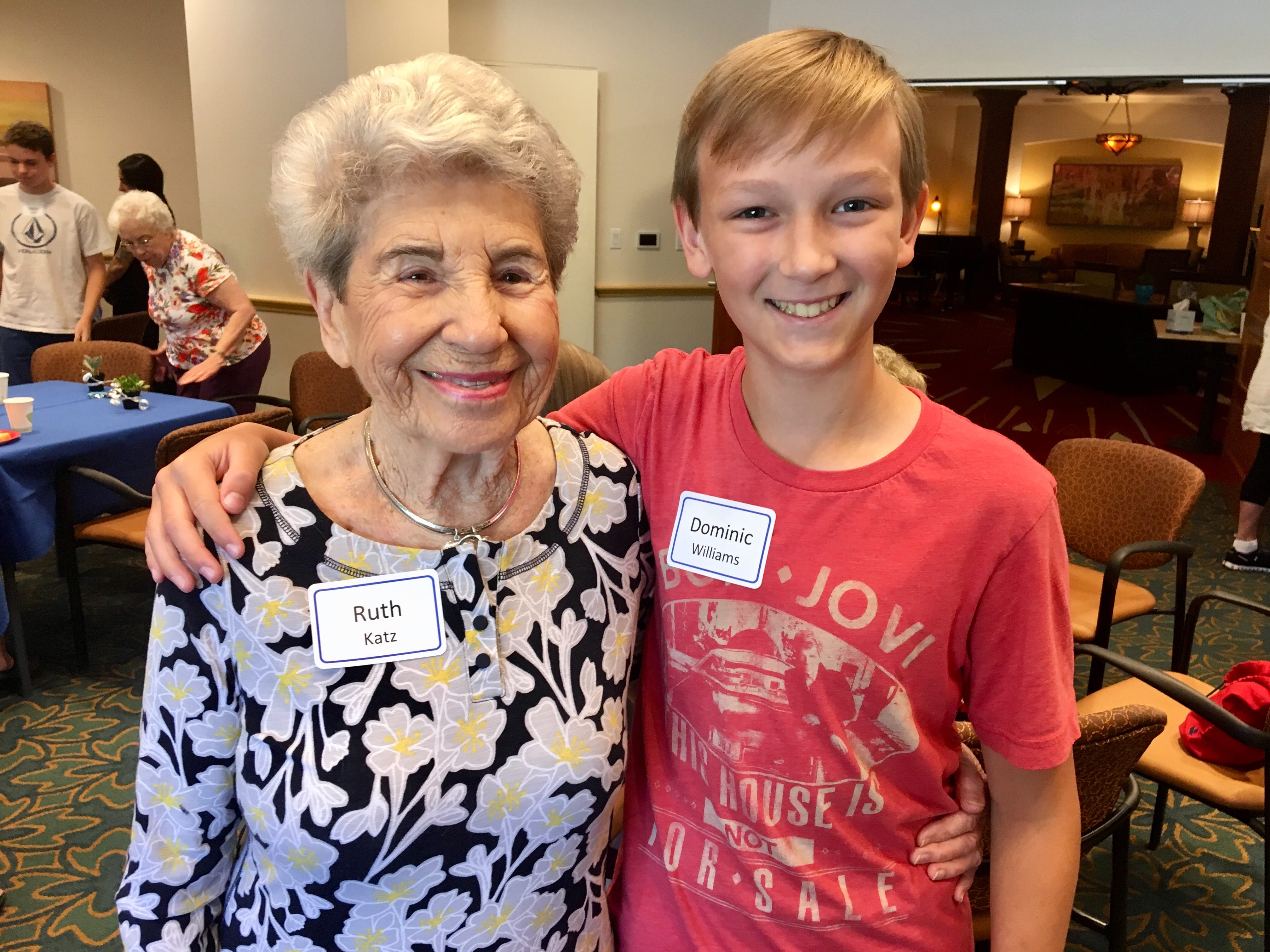 Ruth Katz with her pen pal Dominic Williams, 11, at Vi at Grayhawk, a senior living community in Scottsdale.