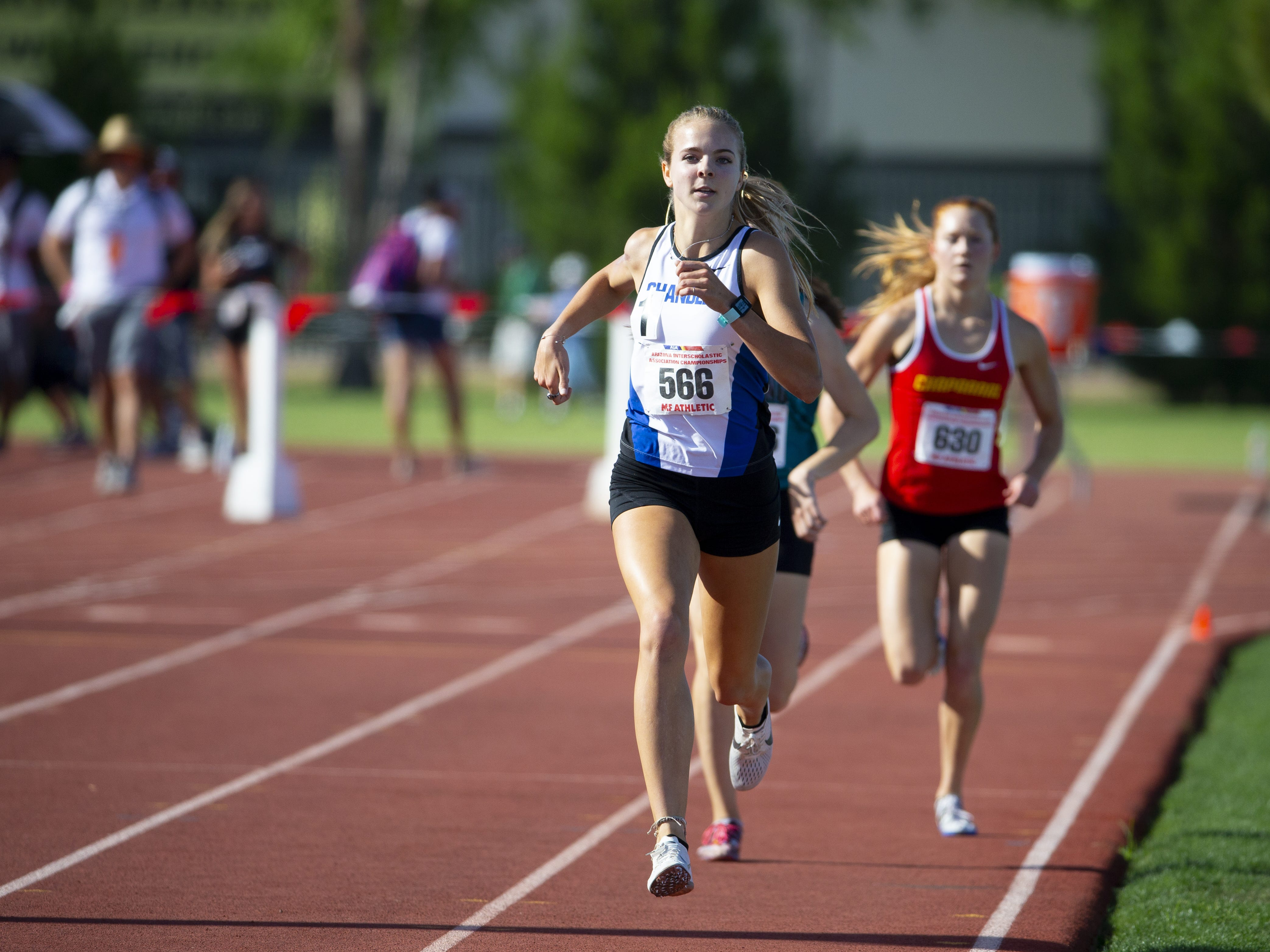 Chandler's Morgan Foster competes in the Girls 1600 meter run Div. I during the state track and field meet at Mesa Community college on May 1, 2019.