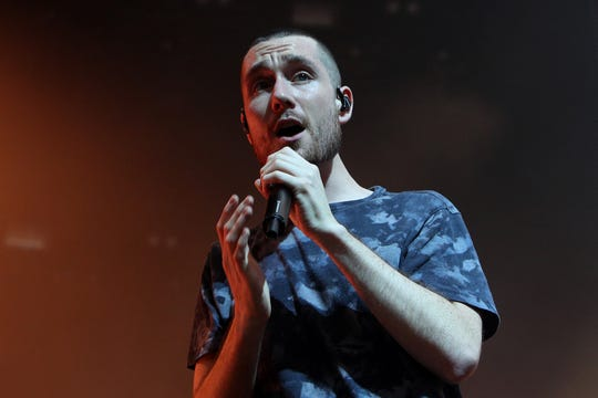 Dan Smith of Bastille performs on the AO Live Stage during the 2019 Australian Open at Melbourne Park on January 17, 2019.