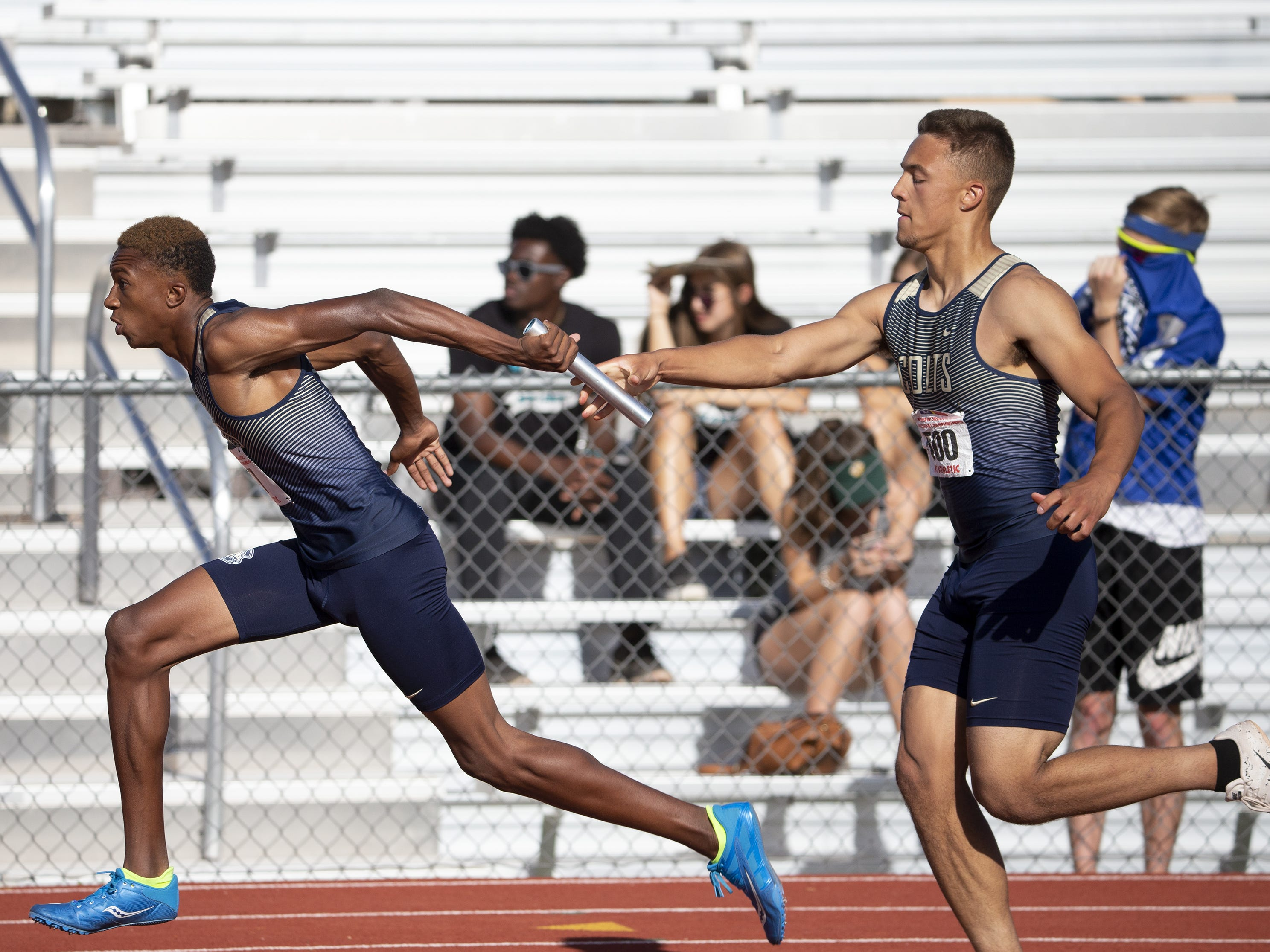 Casteel competes in Boys 4X400 Meter Relay Division II during the state track and field meet at Mesa Community college on May 1, 2019.