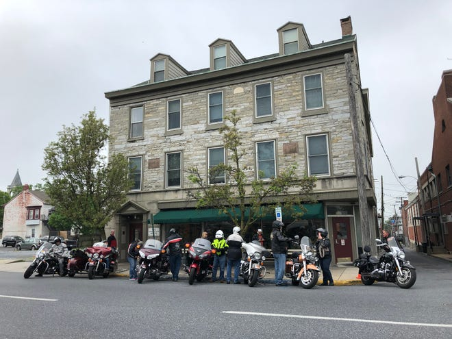 Members of the Christian Motorcyclists Association visited Lebanon's American House, a personal care facility, for National Day of Prayer on Thursday.