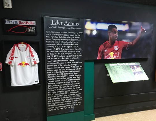 Tyler Adams exhibit in the Dutchess County Sports Museum.