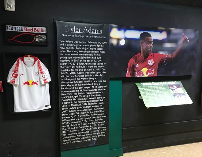 Tyler Adams exhibit in the Dutchess County Sports Museum.