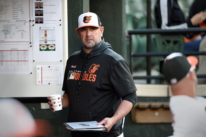 Baltimore Orioles manager Brandon Hyde looks from the dugout before playing the Chicago White Sox in a baseball game, Monday, April 22, 2019, in Baltimore. The Orioles have struggled, as expected, in Hyde's first season as manager. (AP Photo/Gail Burton)
