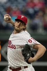 Philadelphia Phillies' Aaron Nola in action during a baseball game against the Detroit Tigers, Wednesday, May 1, 2019, in Philadelphia. (AP Photo/Matt Rourke)