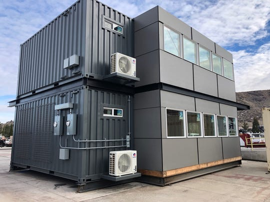An early-stage photo of Marmot Properties' Midtown storage container apartment at the Twisted Metal site in Reno.
