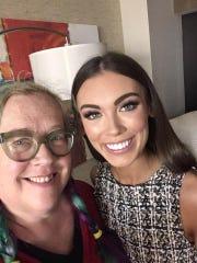 Lauren Hufft, left, helped a Miss USA contestant, Alyssa Klinzing of Kansas, with a fashion emergency last week.