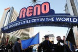 The City of Reno turned the iconic arch blue to honor fallen police officers on May 1, 2019.